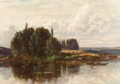 Fine Art - Painting, American:Antique  (Pre 1900), SAMUEL LANCASTER GERRY (American, 1813-1891). The River's Edge,New Hampshire. Oil on canvas. 14 x 20 inches (35.6 x 50....