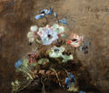 Paintings, NICOLINE TUXEN (Danish, 1847-1931). Flowers, 1886. Oil on canvas. 19-1/4 x 22-7/8 inches (48.9 x 58.0 cm). Signed with m...