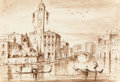 Old Master:Italian, Attributed to GIACOMO GUARDI (Italian, 1764-1835). S. Geremia,Venice. Pen and wash on paper. 6-3/4 x 10 inches (17.1 x ...