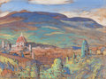 Fine Art - Painting, American:Modern  (1900 1949)  , HOWARD KLIPPERT (American, 1904-1985). View of Florence.Gouache and watercolor on brown paper. 12 x 16 inches (30.5 x 4...