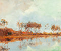 Fine Art - Painting, European:Modern  (1900 1949)  , LEON ZEYTLINE (French, 1885-1962). Landscape along a River.Oil on panel. 8-3/4 x 10-3/4 inches (22.2 x 27.3 cm). Signed...