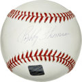 Autographs:Baseballs, Bobby Thomson Single Singed Baseball. Famous for hitting thegame-winning home run to clinch the National League pennant in...