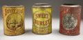 "Antiques:Decorative Americana, LOT OF 3 COUNTRY STORE COUNTER TINS FOR CHEWING TOBACCO - All 5lblithographed tins; 12"" tall; fair condition . a) ""Swe... (Total: 3Items)"