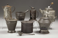 """COLLECTION OF 8 KITCHENWARE ITEMS - a) Camp Tea Pot: 7½"""" tall with porcelain knob; bale with wooden handle;..."""