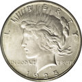 Peace Dollars: , 1925-S $1 MS65 PCGS. Fully brilliant with frosty silver surfacesand hints of ivory color on ...