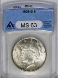 Peace Dollars: , 1928-S $1 MS63 ANACS. Scattered, subtle russet color dots the otherwise bright surfaces. Typi...
