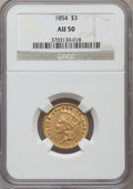 Three Dollar Gold Pieces: , 1854 $3 AU50 NGC. NGC Census: (190/3206). PCGS Population(335/2162). Mintage: 138,618. Numismedia Wsl. Price for problemf...