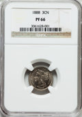Proof Three Cent Nickels: , 1888 3CN PR66 NGC. NGC Census: (165/19). PCGS Population (171/21).Mintage: 4,582. Numismedia Wsl. Price for problem free N...