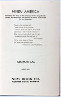 Books:Americana & American History, Chaman Lal. Hindu America. New Book Company, 1941. Secondedition. Illustrated. Publisher's original blue cloth....