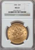 Liberty Double Eagles: , 1896 $20 MS63 NGC. NGC Census: (1468/178). PCGS Population(900/135). Mintage: 792,500. Numismedia Wsl. Price for problem f...