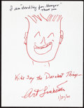 Movie/TV Memorabilia:Autographs and Signed Items, Art Linkletter: TV Host's Doodle for Hunger. Benefiting St. Francis Food Pantries and Shelters. ...