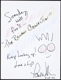 Music Memorabilia:Autographs and Signed Items, Paul Williams: Musician's Doodle for Hunger. Benefiting St.Francis Food Pantries and Shelters. ...