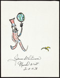 Movie/TV Memorabilia:Autographs and Signed Items, James Whitmore: Actor's Doodle for Hunger. Benefiting St. Francis Food Pantries and Shelters. ...
