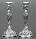 Silver Holloware, American:Candle Sticks, A PAIR OF AMERICAN SILVER REPOUSSÉ CANDLESTICKS . Circa 1900. 7-3/4 inches high (19.8 cm). From a Midwest Estate. ... (Total: 2 Items)