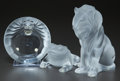 Art Glass:Lalique, THREE LALIQUE FROSTED GLASS TABLE ARTICLES. Post 1945. Marks:LALIQUE, FRANCE. 8 inches high (20.3 cm) (lion). ... (Total:3 Items)