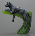 Art Glass:Daum, A DAUM PATE-DE-VERRE GLASS PANTHER SCULPTURE. Late 20th century.Marks: DAUM, FRANCE, 153. 6 inches high (15.2 cm). ...