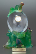 Art Glass:Daum, A DAUM PATE-DE-VERRE GLASS AND CLEAR GLASS FIGURAL FROG CLOCK. Late20th century. Marks: DAUM, FRANCE. 10-1/4 inches hig...(Total: 2 Items)
