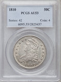 Bust Half Dollars: , 1810 50C AU53 PCGS. PCGS Population (51/203). NGC Census: (49/215).Mintage: 1,276,276. Numismedia Wsl. Price for problem f...