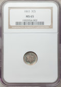 Three Cent Silver, 1863 3CS MS65 NGC....