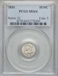 Bust Half Dimes: , 1831 H10C MS64 PCGS. PCGS Population (96/95). NGC Census:(125/115). Mintage: 1,200,000. Numismedia Wsl. Price for problem...