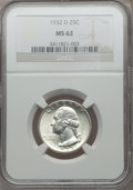 Washington Quarters: , 1932-D 25C MS62 NGC. NGC Census: (344/498). PCGS Population(451/1277). Mintage: 436,800. Numismedia Wsl. Price for problem...