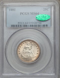 Seated Quarters: , 1881 25C MS64 PCGS. CAC. PCGS Population (35/32). NGC Census:(24/37). Mintage: 12,000. Numismedia Wsl. Price for problem f...