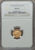Commemorative Gold: , 1903 G$1 Louisiana Purchase/Jefferson MS66 NGC. NGC Census:(402/88). PCGS Population (542/80). Mintage: 17,500. Numismedia...