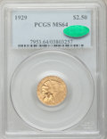 Indian Quarter Eagles: , 1929 $2 1/2 MS64 PCGS. CAC. PCGS Population (1617/127). NGC Census:(2743/235). Mintage: 532,000. Numismedia Wsl. Price for...