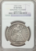 Seated Dollars: , 1850-O $1 -- Improperly Cleaned -- NGC Details. XF. NGC Census:(11/91). PCGS Population (28/86). Mintage: 40,000. Numismed...