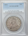 Bust Half Dollars: , 1831 50C AU58 PCGS. PCGS Population (232/470). NGC Census:(348/464). Mintage: 5,873,660. Numismedia Wsl. Price for problem...