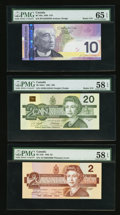 Canadian Currency: , BC-55b $2 1986. BC-58d-i $20 1991. BC-68a $10 2005. ... (Total: 3notes)