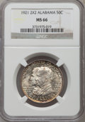 Commemorative Silver, 1921 50C Alabama 2x2 MS66 NGC....
