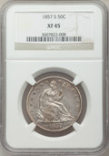 Seated Half Dollars: , 1857-S 50C XF45 NGC. NGC Census: (10/14). PCGS Population (14/20). Mintage: 158,000. Numismedia Wsl. Price for problem free...