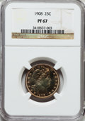 Proof Barber Quarters: , 1908 25C PR67 NGC. NGC Census: (21/4). PCGS Population (15/6). Mintage: 545. Numismedia Wsl. Price for problem free NGC/PCG...