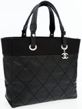 Luxury Accessories:Bags, Chanel Black Coated Fabric Paris-Biarritz Tote Bag. ...