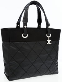 Chanel Black Coated Fabric Paris-Biarritz Tote Bag