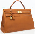 Luxury Accessories:Bags, Hermes 40cm Gold Courchevel Leather Retourne Kelly Bag with GoldHardware. ...