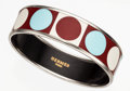 Luxury Accessories:Accessories, Hermes 65mm Light Blue, Red & White Enamel Bangle Bracelet withSilver & Palladium Hardware. ...