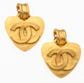 Luxury Accessories:Accessories, Chanel Hammered Gold Heart Shaped CC Earrings. ...