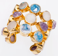 Alexis Bittar Gold Plated Cuff Bracelet with Dyed & Natural Quartz Stones