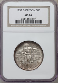 1933-D 50C Oregon MS67 NGC. NGC Census: (39/0). PCGS Population (92/1). Mintage: 5,008. Numismedia Wsl. Price for proble...