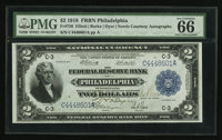 Fr. 756 $2 1918 Federal Reserve Bank Note Double Courtesy Autograph PMG Gem Uncirculated 66 EPQ
