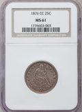 Seated Quarters: , 1876-CC 25C MS61 NGC. NGC Census: (15/144). PCGS Population(14/146). Mintage: 4,944,000. Numismedia Wsl. Price for problem...