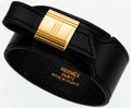 Luxury Accessories:Accessories, Hermes Black Courchevel Leather Artemis Bracelet with Gold Hardware. ...