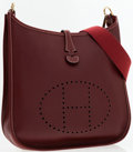 Luxury Accessories:Bags, Hermes Rouge H Calf Box Leather Evelyne I Crossbody Bag. ...