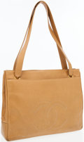 Luxury Accessories:Bags, Chanel Beige Caviar Leather Tote Bag with Leather CC Accent. ...