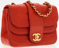 Luxury Accessories:Accessories, Chanel Red Lambskin Leather Mini Double Flap Shoulder Bag. ...