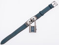 Luxury Accessories:Accessories, Hermes Blue Jean Epsom Leather Kelly Watch with Palladium Hardware....