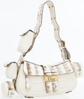 Luxury Accessories:Accessories, Christian Dior White Leather & Canvas Street Chic Bag . ...
