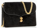 Luxury Accessories:Bags, Gucci Black Classic Monogram Velour Evening Bag with Gold ChainStrap. ...